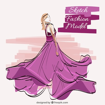 Esboço da desgastando do modelo de vestido violeta