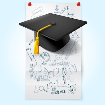 Esboço da educação com chapéu