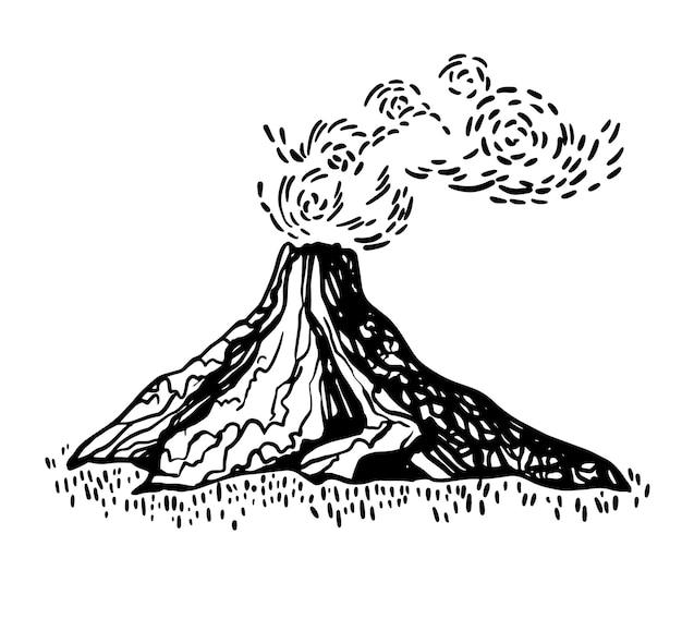 Esboço da erupção da montanha do vulcão em estilo doodle gravado