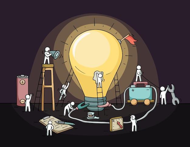 Esboço da ideia de lâmpada com multidão de pessoas pequenas.