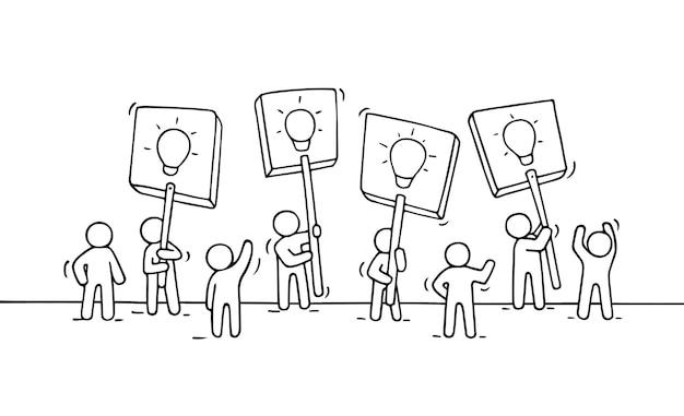 Esboço da multidão de pessoas pequenas com ilustração das idéias da lâmpada