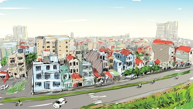 Esboço da paisagem urbana da cidade de saigon (ho chi mihn) vietnã mostra o horizonte e a construção, ilustração