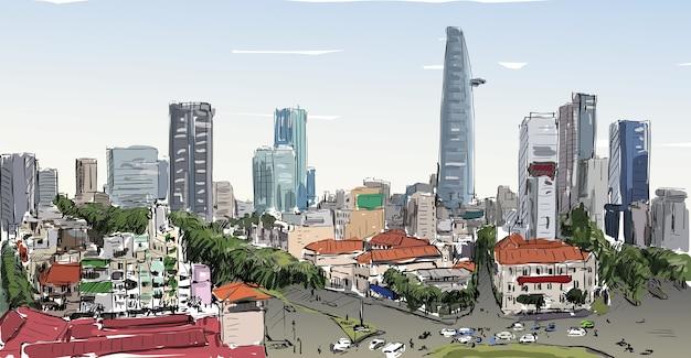 Esboço da paisagem urbana da cidade de saigon (ho chi minh) mostra a construção da capital na cidade, ilustração