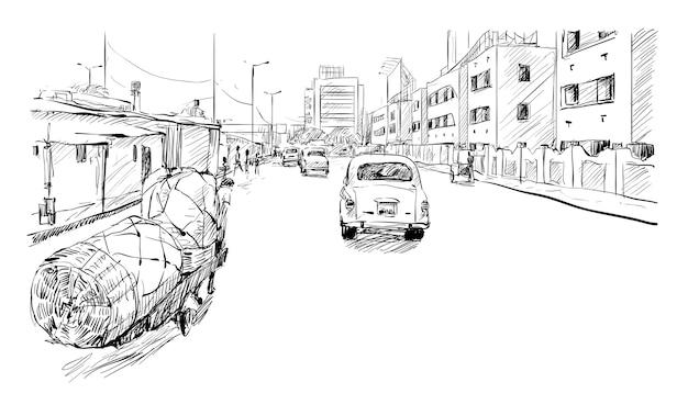 Esboço da paisagem urbana em calcutá, índia, mostra o transporte e as pessoas