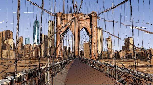 Esboço da paisagem urbana em nova york mostra a ponte do brooklyn e um edifício, ilustração vetorial