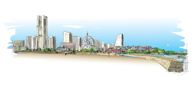 Esboço da paisagem urbana em yokoha, japão, mostra a ilustração da construção ao longo da costa da baía