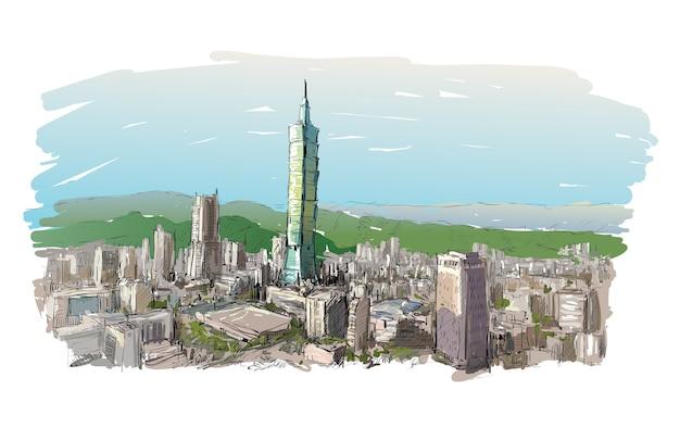 Esboço da paisagem urbana mostra a paisagem urbana em taiwan, edifício de taipei, ilustração