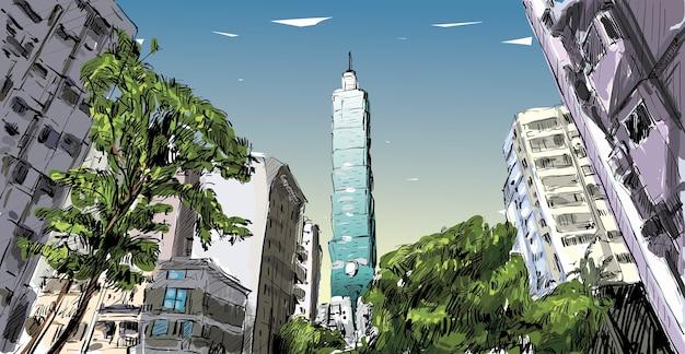 Esboço da paisagem urbana mostra a vista da rua urbana em taiwan, edifício de taipei, ilustração