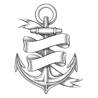 Esboço de âncora desenhado mão do vetor com fita em branco. objeto náutico isolado, ilustração de tatuagem marinha vintage