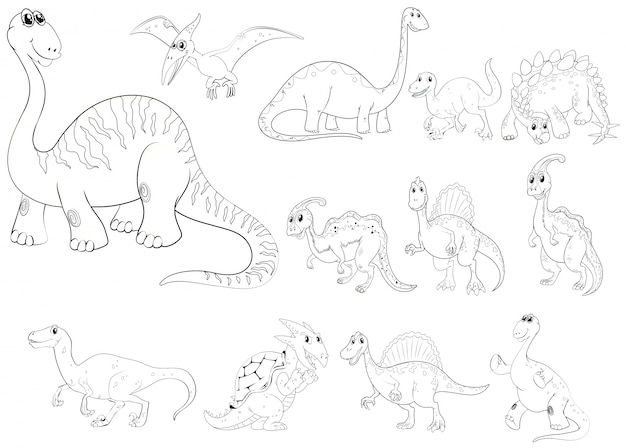 Esboço de animais para diferentes tipos de dinossauros