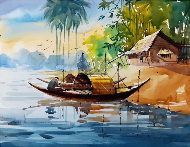 Esboço de aquarela natureza paisagem na mão desenhada ilustração