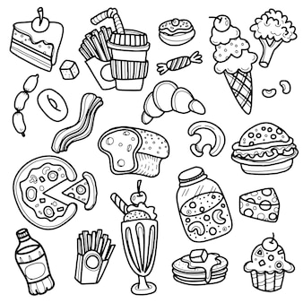 Esboço de arte de linha de ícones de doodle de fast-food