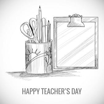 Esboço de arte desenhado à mão com design de composição do dia mundial dos professores