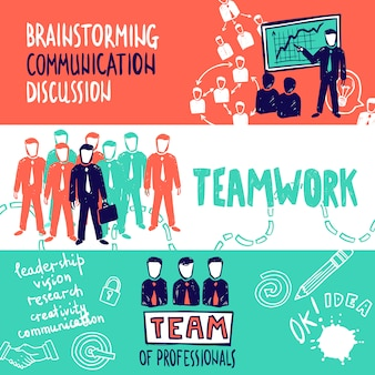 Esboço de banners de trabalho em equipe