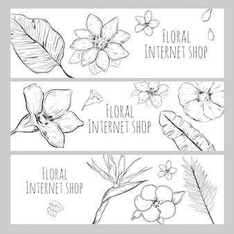 Esboço de banners horizontais florais para loja de internet
