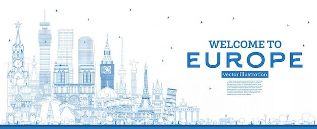 Esboço de boas-vindas ao horizonte da europa com edifícios azuis. conceito de turismo com arquitetura histórica. paisagem urbana da europa com pontos turísticos. londres. berlim. moscou. roma. paris.