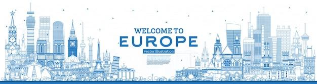 Esboço de boas-vindas ao horizonte da europa com edifícios azuis.