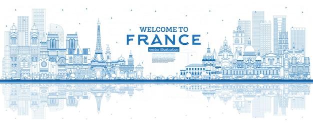 Esboço de boas-vindas ao horizonte da frança com ilustração vetorial de edifícios azuis e reflexos