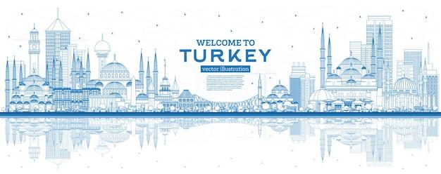 Esboço de boas-vindas ao horizonte da turquia com edifícios e reflexos azuis. ilustração vetorial. conceito de turismo com arquitetura histórica. paisagem urbana da turquia com pontos turísticos. izmir. ancara. istambul.