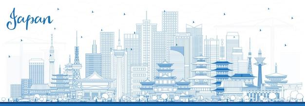 Esboço de boas-vindas ao horizonte do japão com edifícios azuis. tóquio. osaka. nagoya. quioto. nagano. kawasaki.