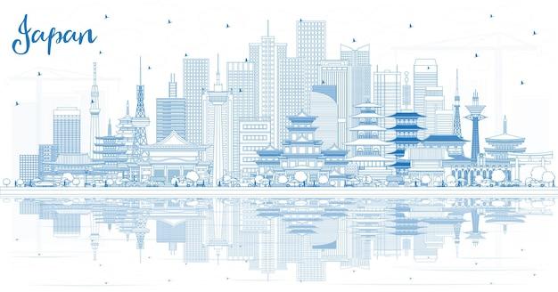 Esboço de boas-vindas ao horizonte do japão com edifícios e reflexos azuis. ilustração. conceito de turismo com arquitetura histórica. paisagem urbana com pontos de referência. tóquio. osaka