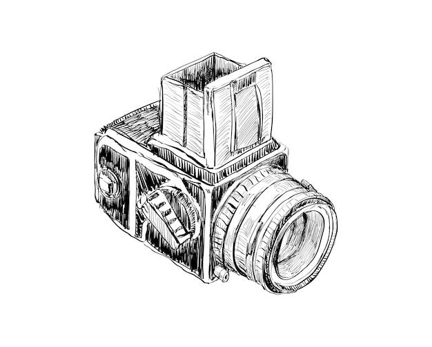 Esboço de câmera vintage mostra desenho de contorno para decoração de momories