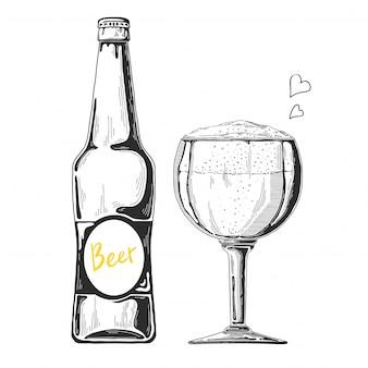 Esboço de cerveja desenhada de mão