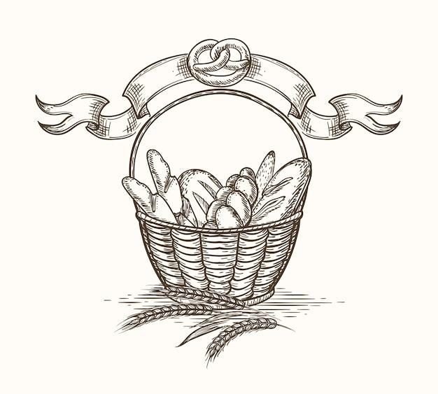 Esboço de cesta de padaria de trigo