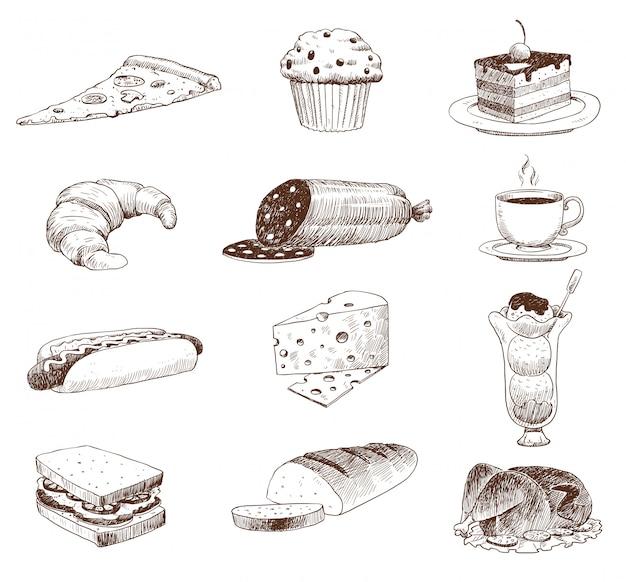 Esboço de comida desenhada de mão e cozinha doodle.