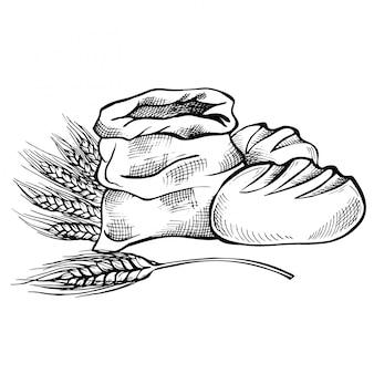 Esboço de comida desenhada de mão e doodle de pão. saco com farinha integral com espiga de trigo.