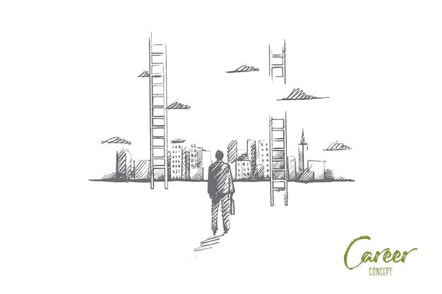 Esboço de conceito de carreira desenhado à mão. empresário de pé e olhando para os arranha-céus da cidade grande e a escada para o céu