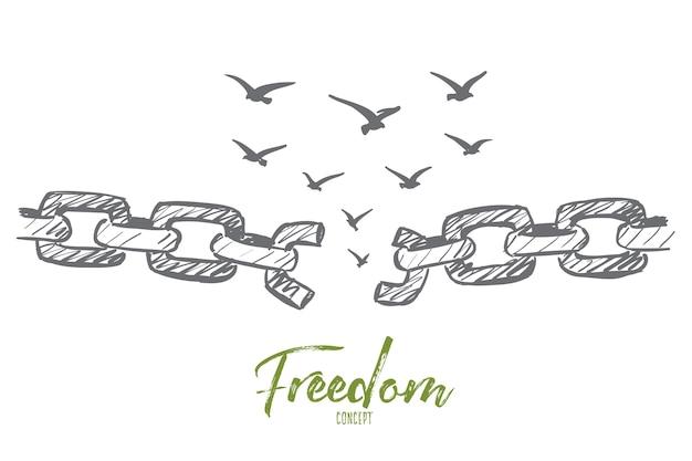 Esboço de conceito de liberdade desenhado à mão com corrente quebrada e bando de pássaros