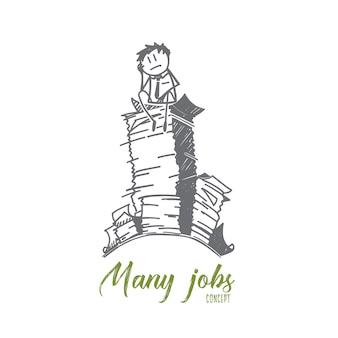 Esboço de conceito de muitos empregos desenhado à mão