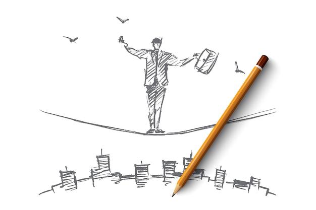 Esboço de conceito de negócio desenhado à mão e lápis sobre ele