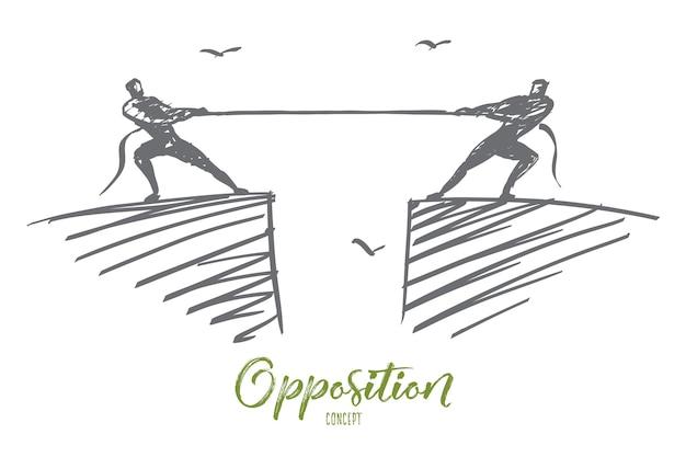 Esboço de conceito de oposição desenhado à mão