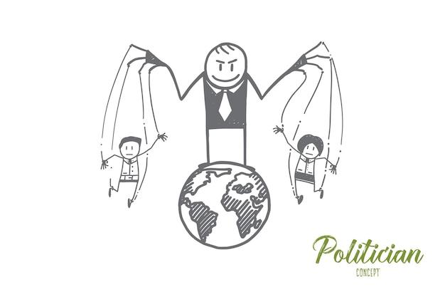 Esboço de conceito de político desenhado à mão
