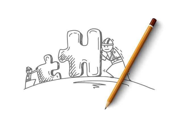 Esboço de conceito de trabalho em equipe desenhado à mão com pessoas movendo as peças do quebra-cabeça