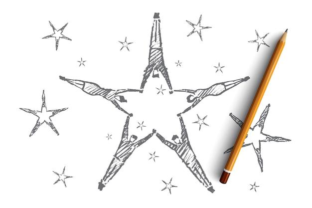 Esboço de conceito de trabalho em equipe desenhado à mão e lápis sobre ele