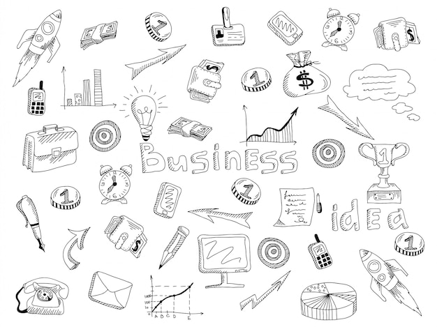 Esboço de contorno de ícones de estratégia de negócios