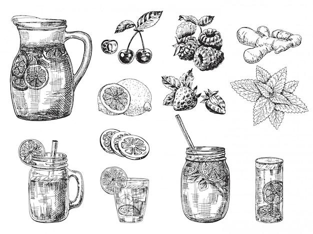 Esboço de coquetel e bebidas de frutas. jarra de suco de limonada.