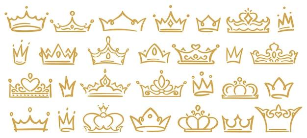 Esboço de coroas douradas, diademas reais afogados para rainha, princesa, vencedora ou campeã