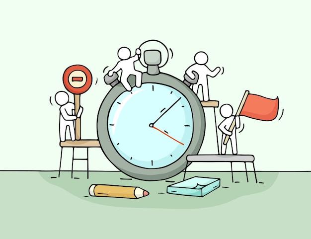 Esboço de cronômetro com pessoas pequenas que trabalham. doodle o trabalho em equipe em miniatura fofo sobre o prazo. ilustração de desenho animado desenhada à mão