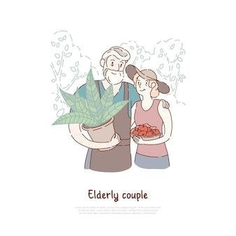 Esboço de desenho animado de casal de fazendeiros de idosos
