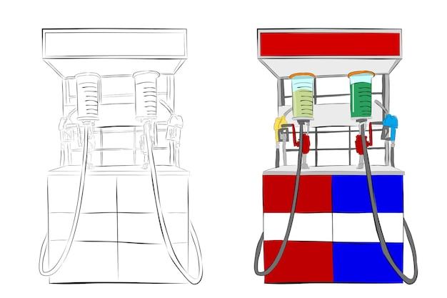 Esboço de desenho de mão de vetor simples, mini dispensador de combustível da indonésia ou geralmente chamado de pertamini, isolado no branco