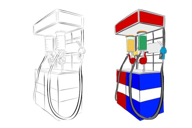 Esboço de desenho de mão de vetor simples, mini posto de gasolina da indonésia ou geralmente chamado de pertamini, isolado no branco