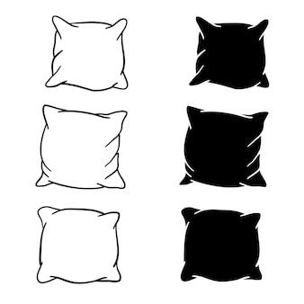 Esboço de desenho de mão e silhueta de conjunto de travesseiro