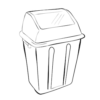 Esboço de desenho vetorial de mão simples, limpar lixo vazio no fundo branco