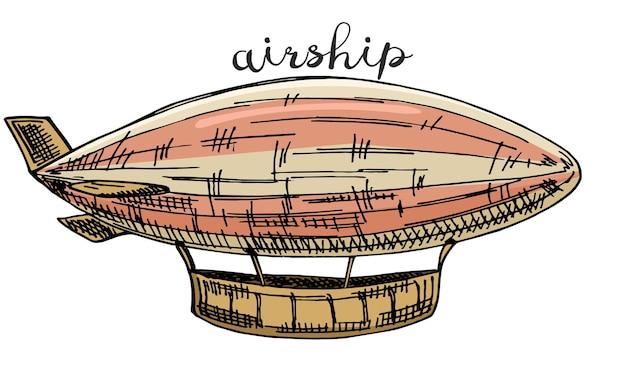 Esboço de dirigível no estilo steampunk. ilustração desenhada à mão