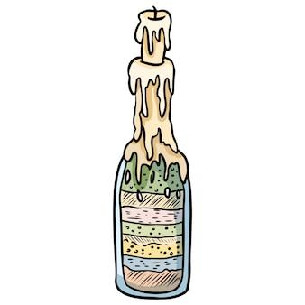 Esboço de doodle de garrafa de bruxa.