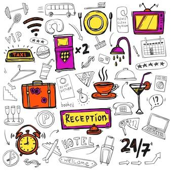 Esboço de doodle de ícones do serviço de hotel